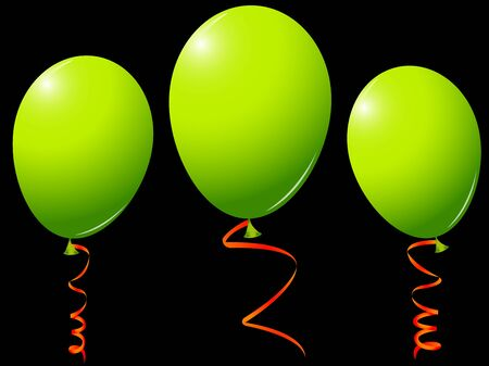 green balloons against black background, with orange ribbons; abstract vector art illustration illustration