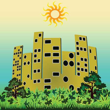 green city background, abstract vector art illustration Stock Illustration - 8545127