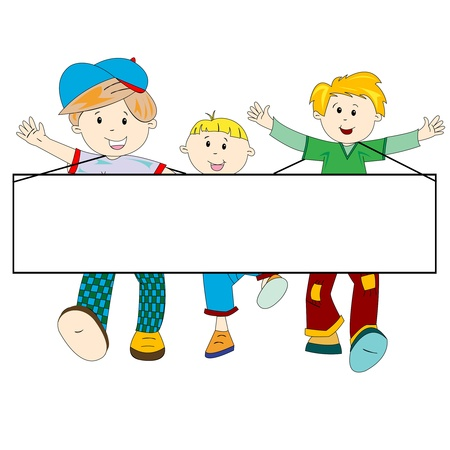 people celebrating: happy kids cartoon with blank banner against white background, abstract vector art illustration