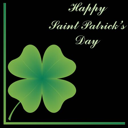 four leafed: happy saint patricks day, abstract art illustration