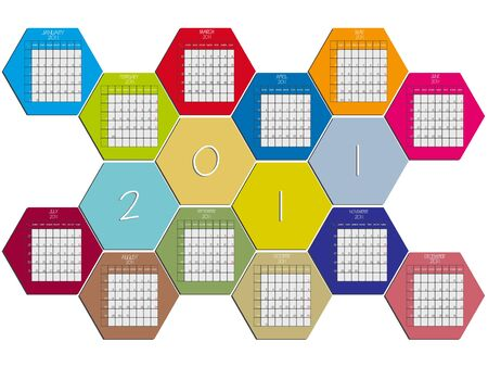 hexagonal calendar 2011 against white background, abstract vector art illustration illustration