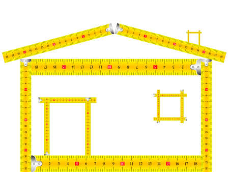 house made of measuring tape against white background, abstract  art illustration Stock Illustration - 8545168