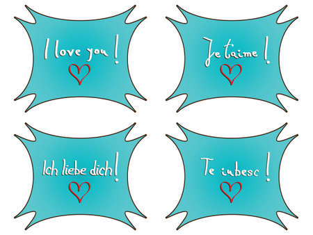 I love you notes against white background, abstract vector art illustration