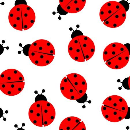 ladybug cartoon: ladybug seamless pattern, abstract texture; vector art illustration