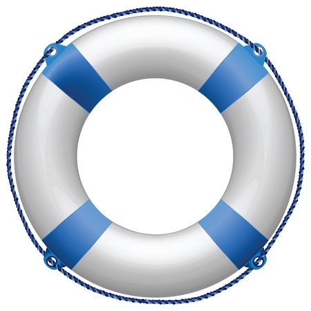 life buoy blue against white background, abstract vector art illustration Foto de archivo