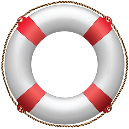 life buoy against white background, abstract vector art illustration Banque d'images