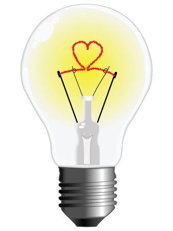 light bulb with heart against white background, abstract vector art illustration Stock Illustration - 8545678