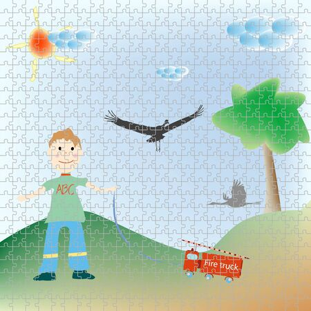 playfull: little boy playing puzzle, abstract art illustration