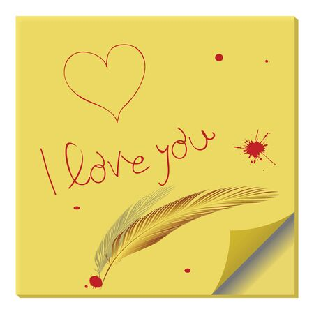 love message on paper note, abstract vector art illustration illustration