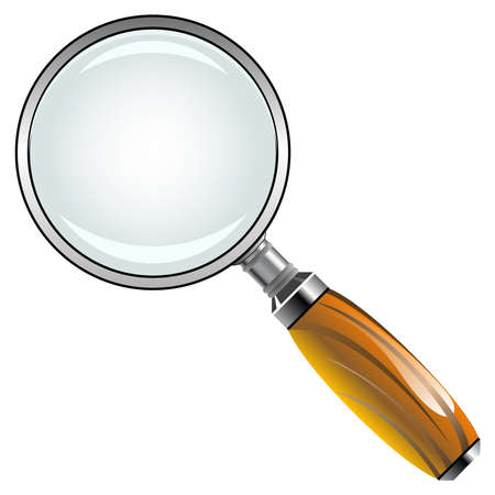 magnifying glass with wooden handle against white background, abstract vector art illustration Stock Illustration - 8545675