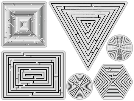mazes collection against white background, abstract vector art illustration illustration