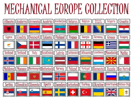mechanical europe flags collection against white background, abstract vector art illustration illustration