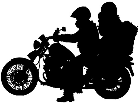motorized bicycle: motorcycle and bikers silhouettes against white background, abstract vector art illustration Stock Photo