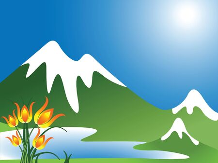 mountain lake: mountain landscape with lake and flowers, abstract vector art illustration