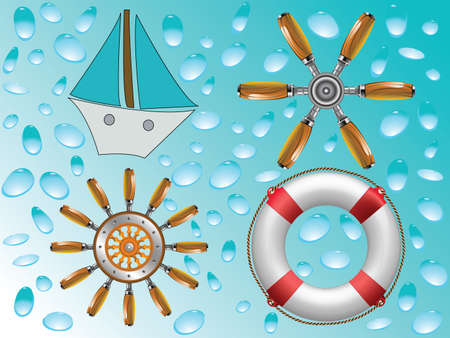 nautical icons collection, abstract vector art illustration illustration