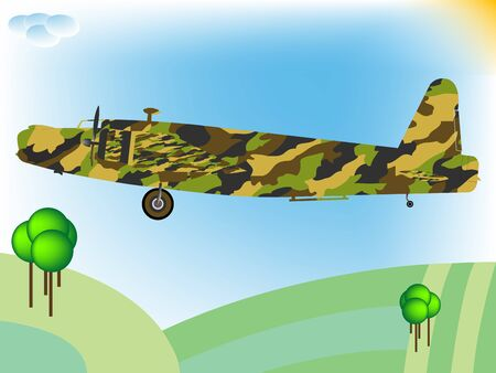 old military airplane flying; abstract art illustration illustration
