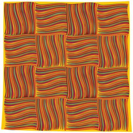 抽象アート イラスト白背景オレンジ色のハンカチ