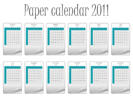 paper calendar 2011 against white background, abstract   art illustration illustration