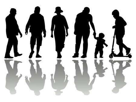 people black silhouettes 4 against white background, abstract vector art illustration Archivio Fotografico