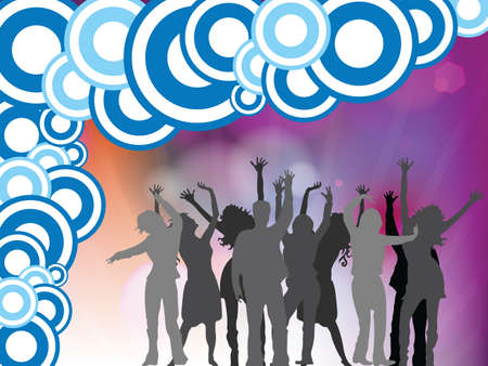 people disco background, abstract vector art illustration Stock Illustration - 8545239
