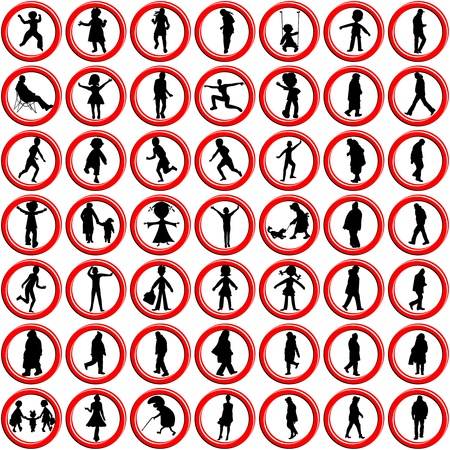 people icons against white background, abstract vector art illustration illustration