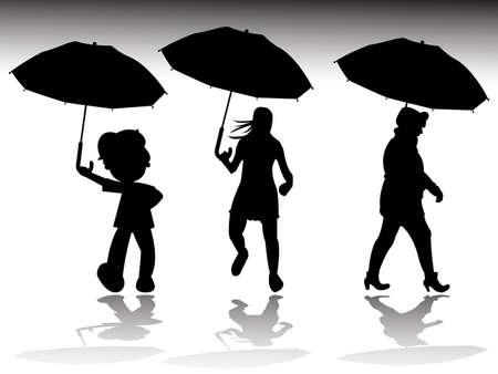 rainy day silhouettes, abstract vector art illustration illustration