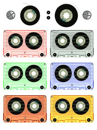 retro audio cassette set against white background, abstract vector art illustration