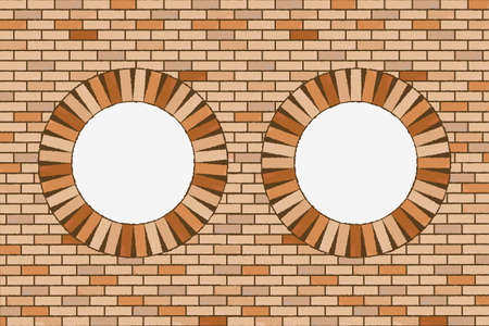round brick windows, abstract  art illustration Stock Illustration - 8545181
