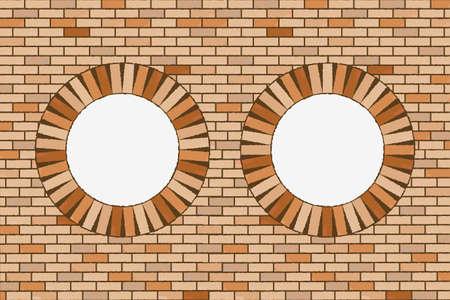 round brick windows, abstract  art illustration Stock Illustration - 8545181