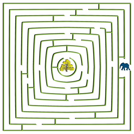 round square maze with elephant and tree, abstract vector art illustration illustration