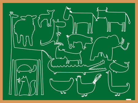 school animals drawing, abstract vector art illustration illustration