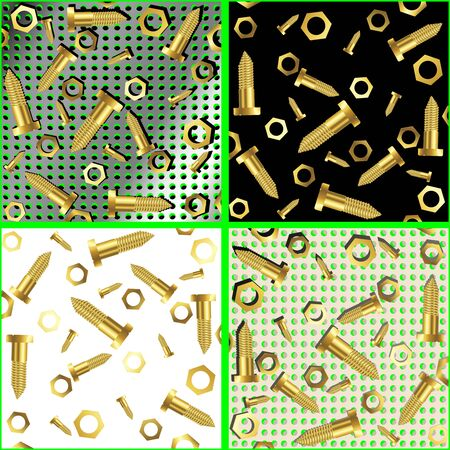 screws and nuts composition, abstract art illustration Stock Illustration - 8544960