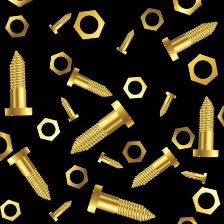 screws and nuts composition over black background, abstract art illustration Stock Illustration - 8545197
