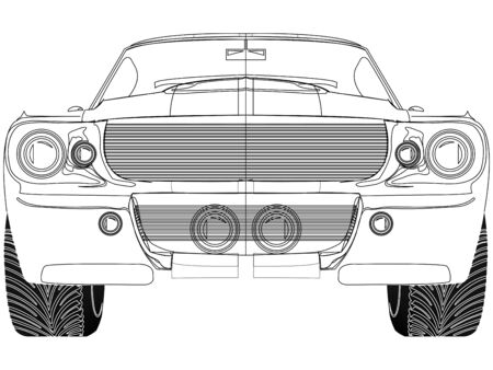 sport car front sketch against white background, abstract vector art illustration