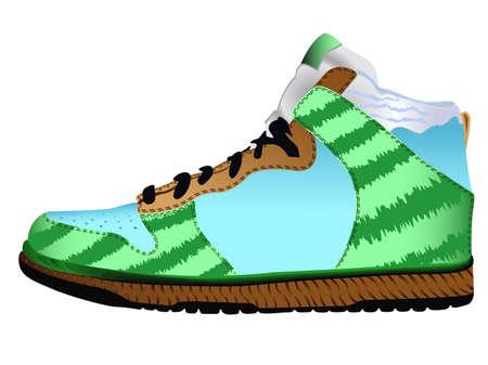 sport shoe against white background, abstract vector art illustration illustration