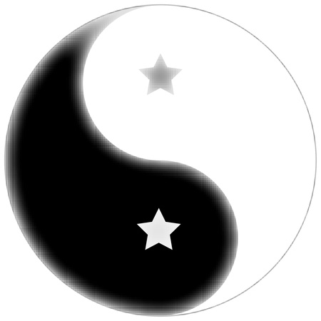 metaphysic: starred yin yang symbol, abstract unique vector art illustration Stock Photo