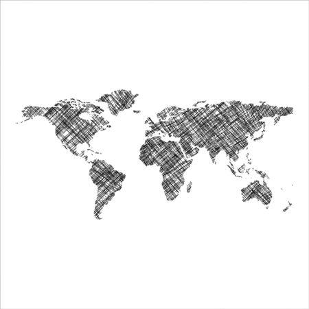 striped black world map, abstract art illustration