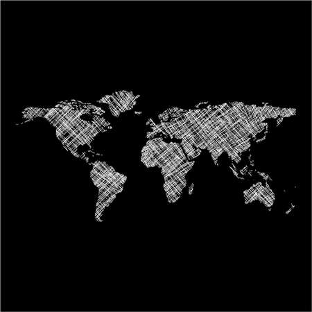 striped white world map, abstract art illustration