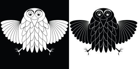 stylized owl cartoon, abstract vector art illustration Stock Illustration - 8545278