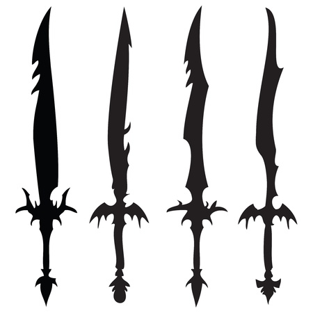 swords silhouettes against white background, abstract vector art illustration Stock Illustration - 8546132