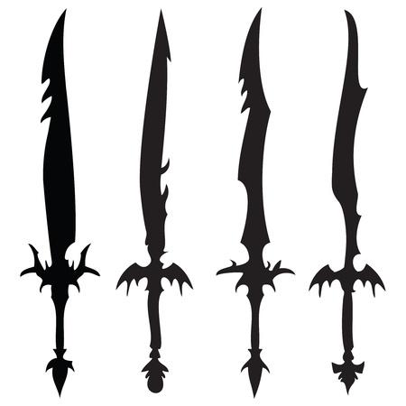 swords silhouettes against white background, abstract vector art illustration Stock Illustration - 8546132