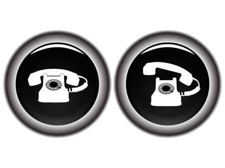 telephone black icons against white background, abstract vector art illustration Stock Illustration - 8545373