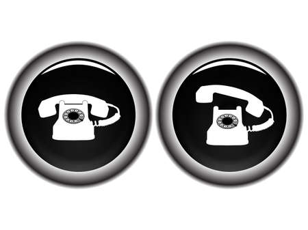 telephone black icons against white background, abstract vector art illustration Stock Illustration - 8545373