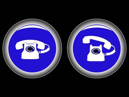 telephone blue icons against black background, abstract vector art illustration Stock Illustration - 8545546