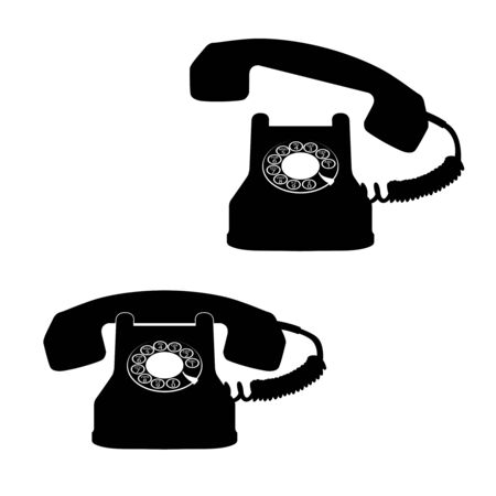 telephone black icons against white background, abstract vector art illustration Stock Illustration - 8546141