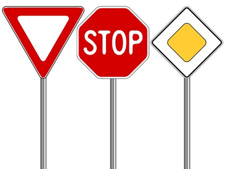 no entry sign: traffic signs against white background, abstract vector art illustration
