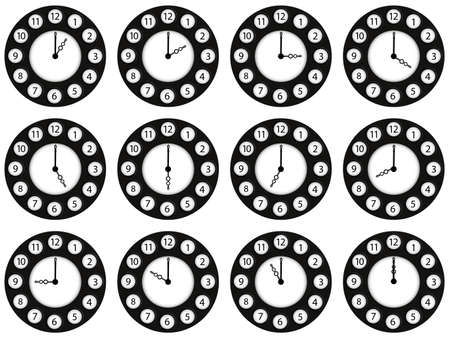 twelve clocks showing different ours against white background, abstract vector art illustration