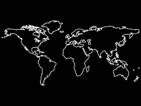 white world map outlines isolated on black background, abstract art illustration