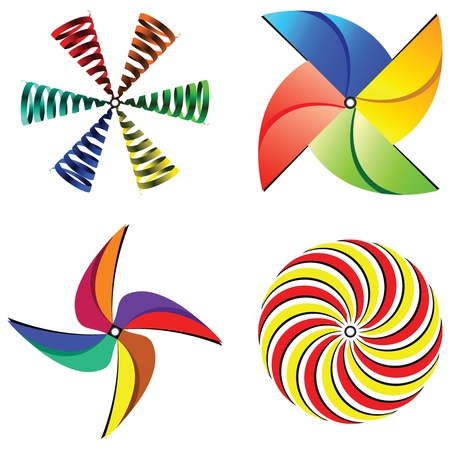pinwheel toy: wind mills collection against white background, abstract vector art illustration Stock Photo