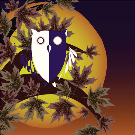 owl and tree background, abstract vector art illustration Vector